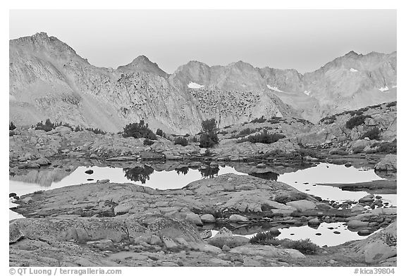 Alpine lakes and mountain range at dawn, Dusy Basin. Kings Canyon National Park (black and white)