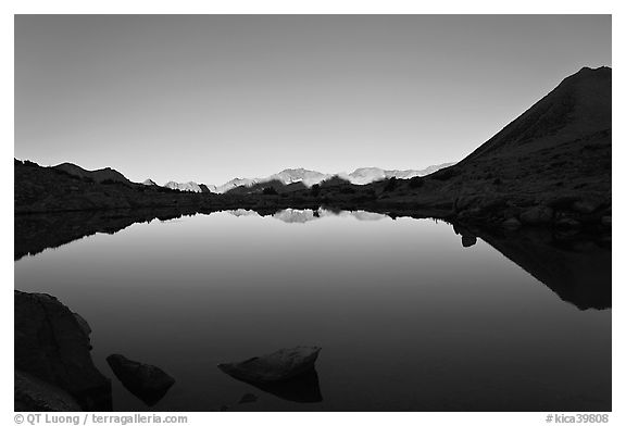 Lake and reflections, early morning, Dusy Basin. Kings Canyon National Park (black and white)