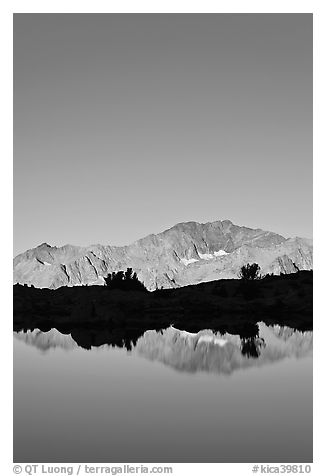 Peak reflections, early morning, Dusy Basin. Kings Canyon National Park (black and white)
