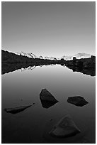 Rocks and calm lake with mountain reflections, early morning, Dusy Basin. Kings Canyon National Park ( black and white)