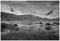 Mt Agasiz, Mt Thunderbolt, and Isoceles Peak reflected in a lake in Dusy Basin, late afternoon. Kings Canyon National Park, California, USA. (black and white)