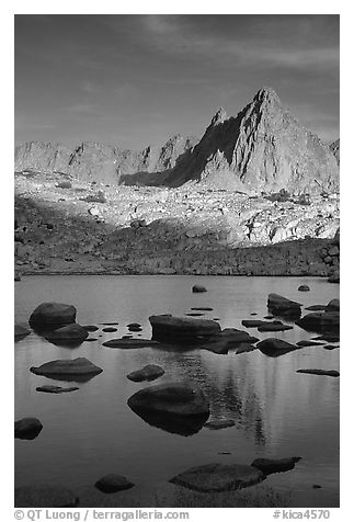Isoceles Peak reflected in a lake in Dusy Basin, late afternoon. Kings Canyon National Park (black and white)