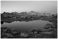 Pond in Dusy Basin and Mt Giraud, dawn. Kings Canyon National Park ( black and white)