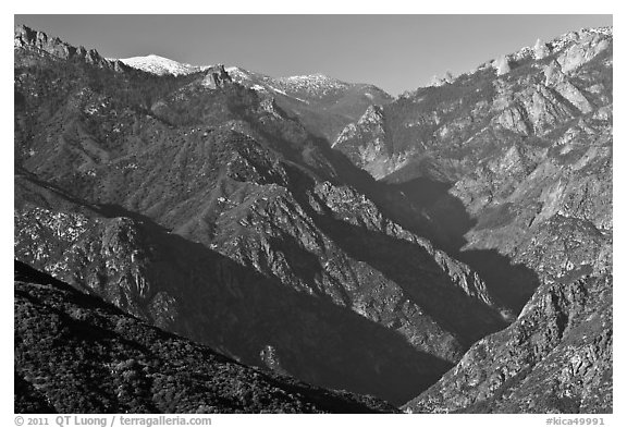 Middle Forks of the Kings River with snowy Spanish Mountain. Kings Canyon National Park (black and white)