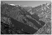 Middle Forks of the Kings River with snowy Spanish Mountain. Kings Canyon National Park ( black and white)