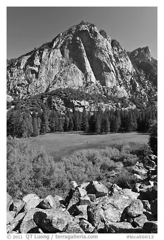High granite walls above lush meadow. Kings Canyon National Park (black and white)