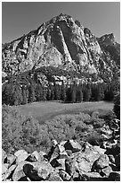High granite walls above lush meadow. Kings Canyon National Park ( black and white)