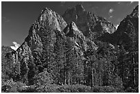 Avalanche Peak and Grand Sentinel raising from Cedar Grove valley. Kings Canyon National Park ( black and white)