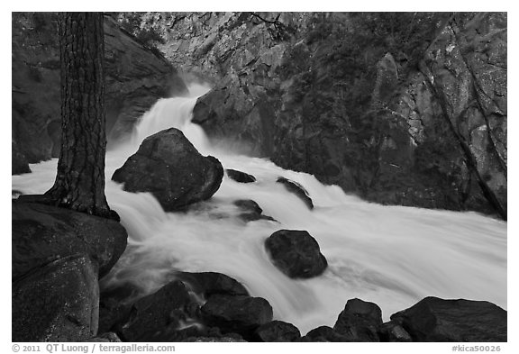 Forceful waterfall rushing through narrow granite chute. Kings Canyon National Park (black and white)
