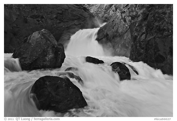 Roaring River Falls in spring. Kings Canyon National Park (black and white)