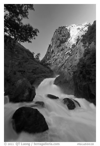Roaring River Falls below high granite cliff. Kings Canyon National Park (black and white)