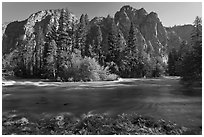 Kings River flowing at the base of high cliffs. Kings Canyon National Park ( black and white)
