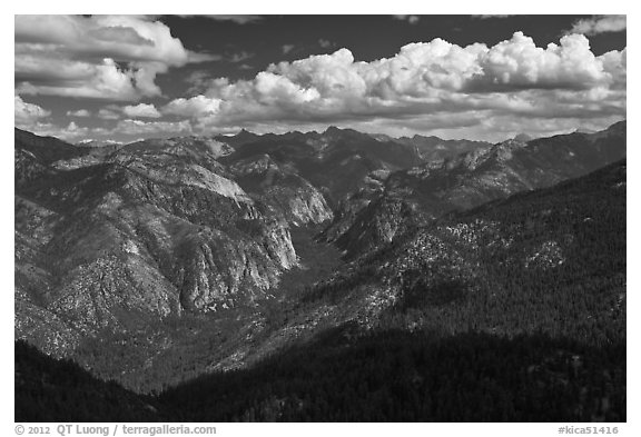 Cedar Grove Valley view and clouds. Kings Canyon National Park (black and white)