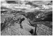 View from  top of Lookout Peak. Kings Canyon National Park ( black and white)