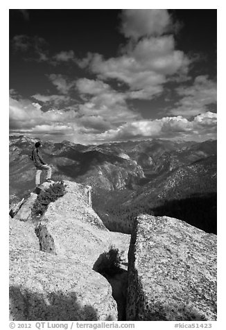 Hiker taking in view from Lookout Peak. Kings Canyon National Park (black and white)