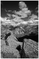 Summit blocks of Lookout Peak and Cedar Grove. Kings Canyon National Park, California, USA. (black and white)