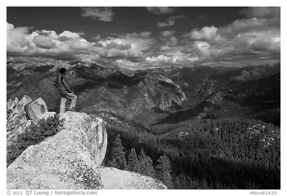 Park visitor looking, Lookout Peak. Kings Canyon National Park (black and white)