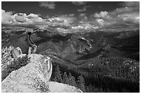 Park visitor looking, Lookout Peak. Kings Canyon National Park ( black and white)