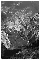 U-shaped valley from above, Cedar Grove. Kings Canyon National Park ( black and white)