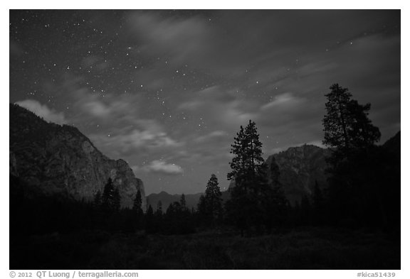 Cedar Grove valley at night. Kings Canyon National Park (black and white)