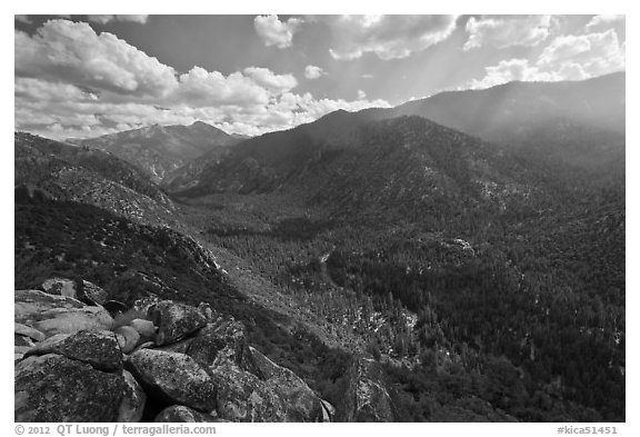 Cedar Grove Valley from Cedar Grove Overlook. Kings Canyon National Park (black and white)