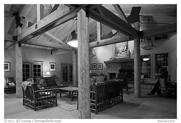 John Muir Lodge lounge. Kings Canyon National Park (black and white)