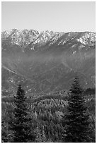 Tombstone Ridge at dawn in autumn. Kings Canyon National Park ( black and white)