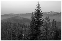 Mountains at dawn from Kings Canyon Overlook. Kings Canyon National Park ( black and white)