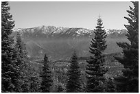Tombstone Ridge from Kings Canyon Overlook. Kings Canyon National Park ( black and white)