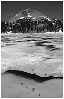 Ice break up in lake Helen and Lassen Peak, early summer. Lassen Volcanic National Park ( black and white)