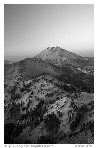 Mt Diller, Pilot Pinnacle, and Lassen Peak from Brokeoff Mountain, sunset. Lassen Volcanic National Park (black and white)