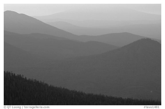 Ridges from Brokeoff Mountain. Lassen Volcanic National Park (black and white)