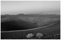 Crater at top of Cinder cone, dawn. Lassen Volcanic National Park ( black and white)