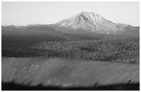 Top of Cinder cone and Lassen Peak, sunrise. Lassen Volcanic National Park ( black and white)