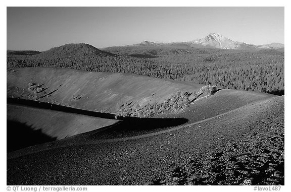 Cinder cone crater and Lassen Peak, early morning. Lassen Volcanic National Park (black and white)
