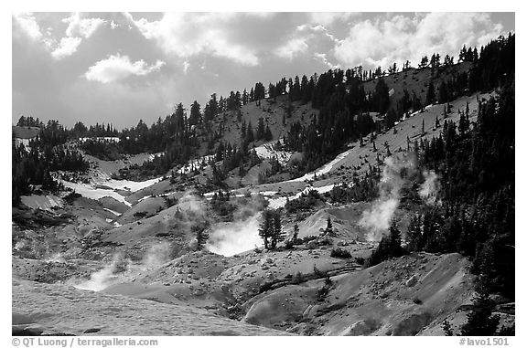 Bumpass Hell thermal area. Lassen Volcanic National Park (black and white)