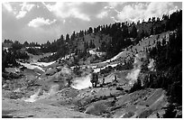 Bumpass Hell thermal area. Lassen Volcanic National Park, California, USA. (black and white)