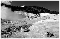 Colorful deposits in Bumpass Hell thermal area. Lassen Volcanic National Park, California, USA. (black and white)