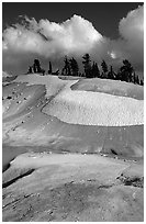 Colorful deposits in Bumpass Hell thermal area, early summer. Lassen Volcanic National Park ( black and white)