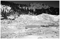 Colorful deposits and turquoise pool in Bumpass Hell thermal area. Lassen Volcanic National Park, California, USA. (black and white)