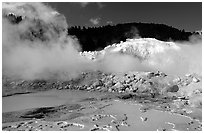 Mud cauldrons and fumeroles in Bumpass Hell thermal area. Lassen Volcanic National Park ( black and white)