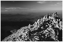 Hikers on Summit of Lassen Peak. Lassen Volcanic National Park ( black and white)