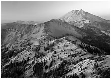 Chain of peaks leading to Lassen Peak, sunset. Lassen Volcanic National Park ( black and white)