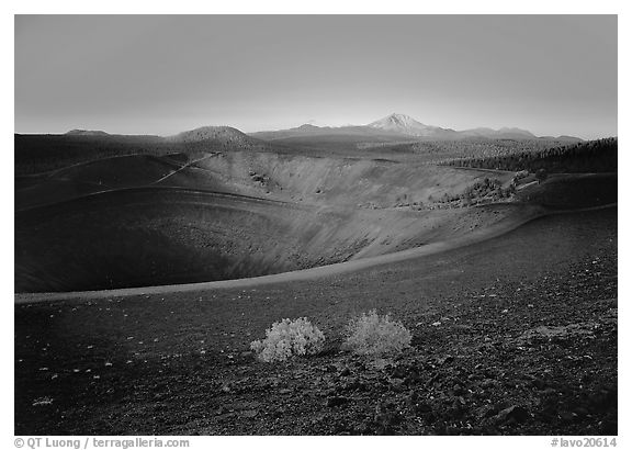Sagebrush bushes,  Cinder cone rim, and Lassen Peak, sunrise. Lassen Volcanic National Park (black and white)