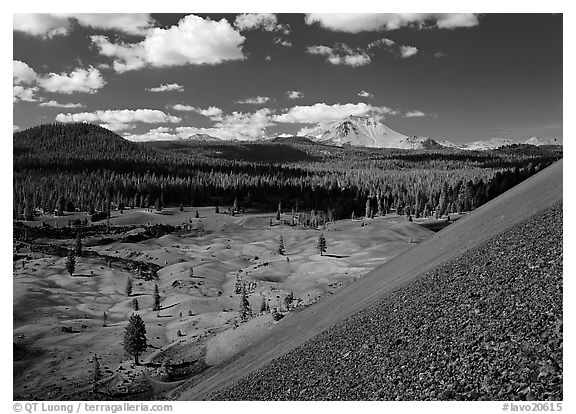 Painted dunes and Lassen Peak seen from Cinder cone slopes. Lassen Volcanic National Park (black and white)