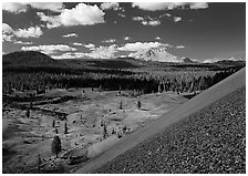 Painted dunes and Lassen Peak seen from Cinder cone slopes. Lassen Volcanic National Park ( black and white)