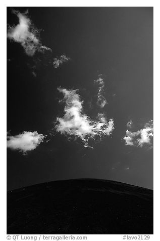 Clouds and round cinder cone. Lassen Volcanic National Park (black and white)