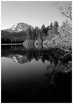 Manzanita lake and Mount Lassen in spring, morning. Lassen Volcanic National Park ( black and white)