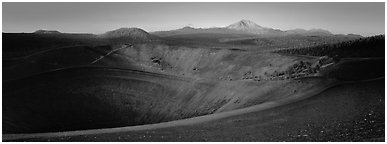 Cinder cone and Lassen Peak at dawn. Lassen Volcanic National Park (Panoramic black and white)