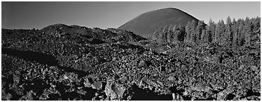 Hardened lava bed and Cinder Cone. Lassen Volcanic National Park (Panoramic black and white)